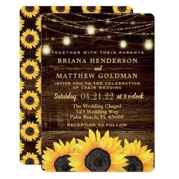 sunflowers mason jar lights wedding invitation