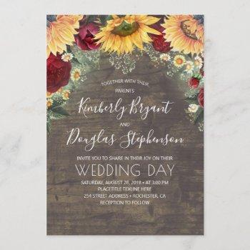 sunflowers red roses daisies rustic wedding invitation