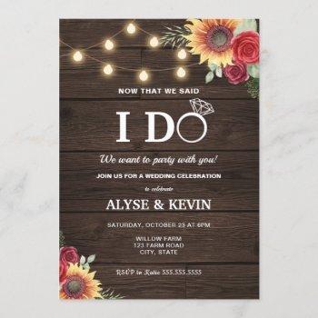 sunflowers, roses, lights and barnwood i do bbq invitation