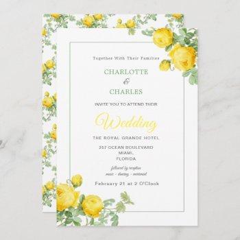 sunny yellow roses elegant floral wedding invitation