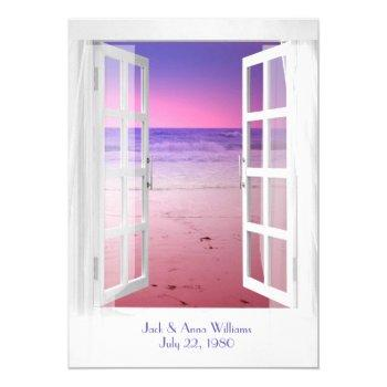 sunset ocean view vow renewal ceremony invitation
