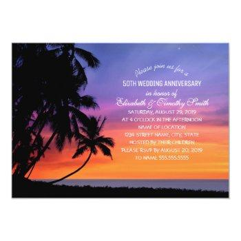 sunset palm tree beach wedding anniversary party invitation