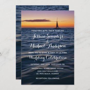 sunset sail modern nautical wedding invitation