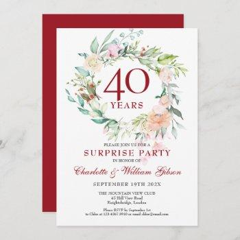 surprise party roses garland 40th anniversary invitation