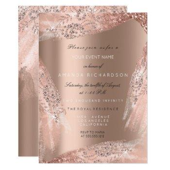 sweet 16th bridal dress rose gold sparkly invitation