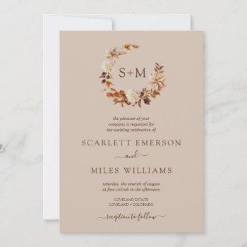 taupe fall terracotta monogram wreath wedding invitation