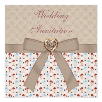 taupe linen wonderland flamingos wedding invites