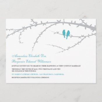 {tba} love birds wedding invitation (aqua)
