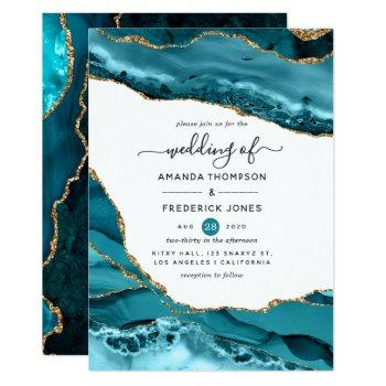 teal and gold agate wedding invitation