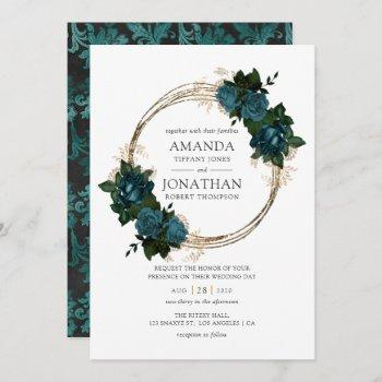 teal and gold floral wedding invitation