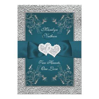 Small Teal And Gray Joined Hearts Wedding Invite Front View
