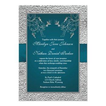 Small Teal And Gray Joined Hearts Wedding Invite Back View