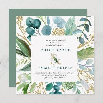 teal blue and gold botanical square wedding invitation