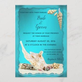teal blue aqua turquoise seashell beach wedding invitation