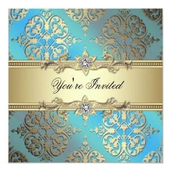 teal blue black gold damask party invitation