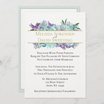 teal blue bouquet tradition wedding suite ceremony invitation