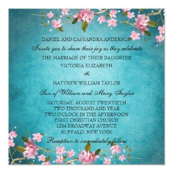 teal blue pink japanese cherry blossoms wedding invitation