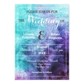 teal blue purple watercolor - wedding invitation