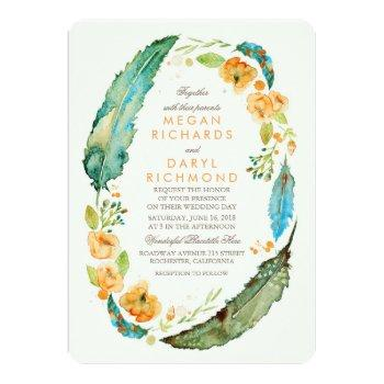 teal bohemian floral feathers botanical wedding invitation