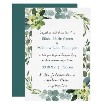 teal bouquet frame - 3x5 wedding invitation