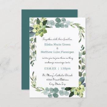 teal bouquet frame - 3x5 wedding invitation