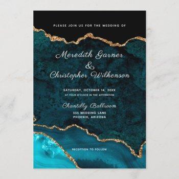 teal gold glitter agate geode wedding invitation
