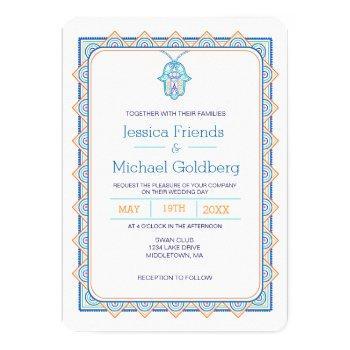 teal gold hamsa geometric wedding invitation