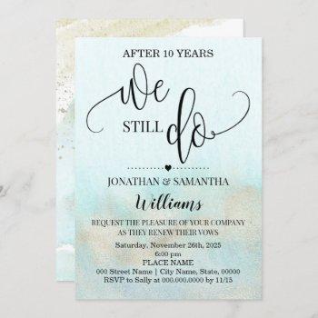 teal gold we still do ocean wedding anniversary invitation