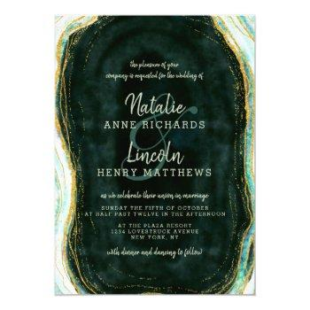 teal green & gold agate marble geode stone wedding invitation