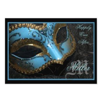 teal masquerade renaissance wedding invitation