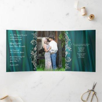 teal satin look with peacock wedding tri-fold invitation