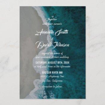 teal sea shore destination beach wedding invitation