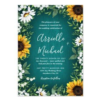 Small Teal Sunflower Country Rustic Wedding Invitations Front View