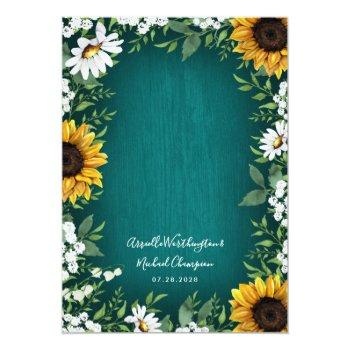 Small Teal Sunflower Country Rustic Wedding Invitations Back View