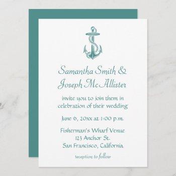 teal vintage anchor nautical wedding invitation