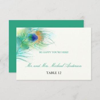 teal watercolor peacock feather | seating invitation