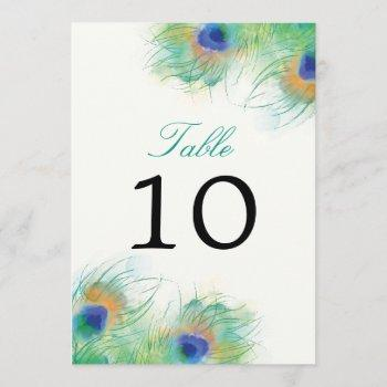 teal watercolor peacock feather | table number