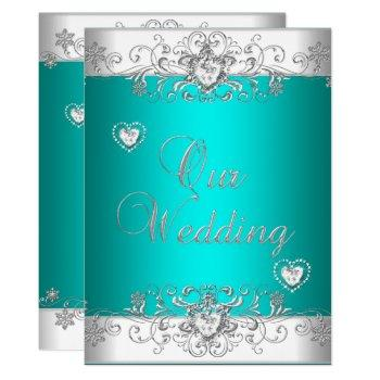 teal wedding silver white diamond hearts invitation