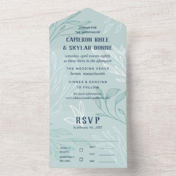 teal white blue greenery wedding all in one invitation