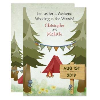 tents and campfire woodland camping wedding invitation