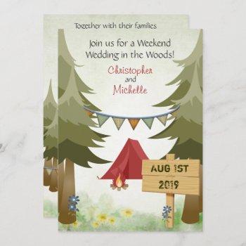 tents and campfire woodland camping wedding invitation