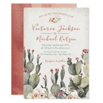 terracota and cactus wedding invitations