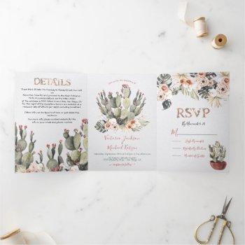terracota and cactus wedding tri-fold invitation