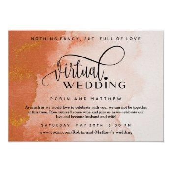 terracotta coral watercolor online virtual wedding invitation