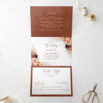 terracotta flowers and pampas grass exotic wedding tri-fold invitation