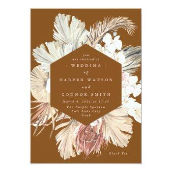 terracotta pampas dried grass floral jungle invitation