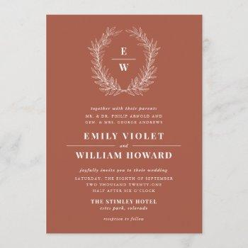 terracotta wreath monogram wedding invitation