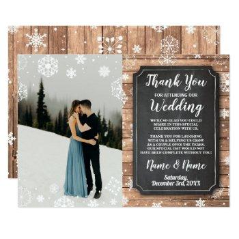 thank you card photo rustic winter snowflakes wood
