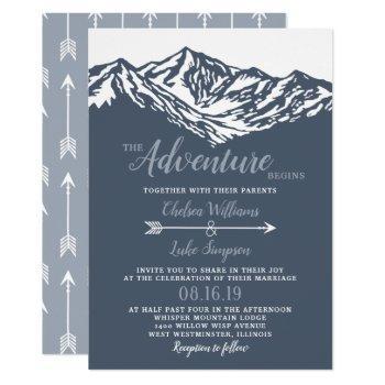 the adventure begins mountain wedding dusty blue invitation