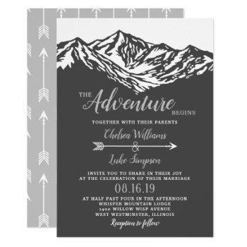 the adventure begins mountain wedding gray invitation